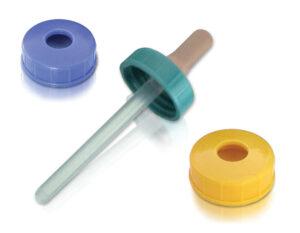 Tapas plásticas 28 mm. con perforación para gotero. Código: T- 2801