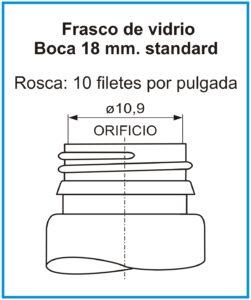 plano Frasco de vidrio 18 mm standard