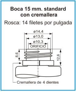 plano boca 15 mm standard con cremallera