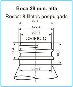 plano boca 28 mm alta