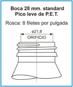plano boca 28 mm standard pico leve de pet